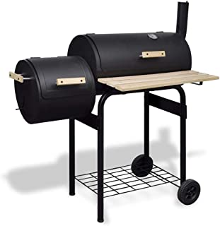 vidaXL Classic Charcoal BBQ Offset Smoker Wood Barbeque Grill Cooking Chamber