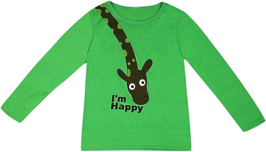 Zoepets Boys Girl Bottoming Shirt Round Neck Cartoon Giraffe Pattern Long Sleeve T-Shirt