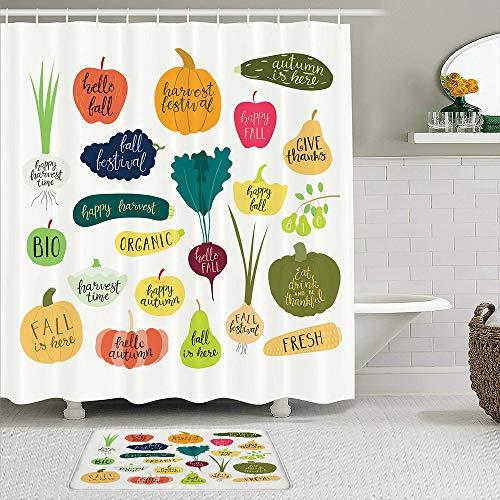 RUBEITA 2-teiliges Duschvorhang-& Matten-Set,Kürbiskürbis Zwiebeln Birnen Trauben Äpfel Zu,rutschfeste Teppiche,wasserdichte Badvorhänge mit 12 Haken