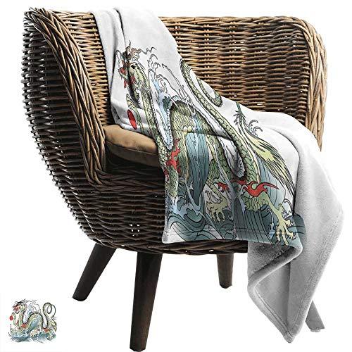 ZSUO deken opslag Japanse draak, etnische Verre Oosten Beest Vurige Monster met Schalen Fangs en Staart, Grijs Violet Geel Gezellige en Duurzame Fabric-Machine Wasbaar