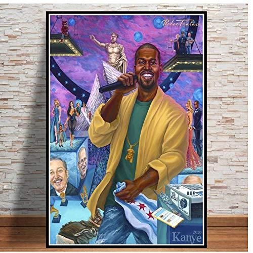 linshel Hot Rap Hip Hop Star Das Leben von Pablo Kanye West Zimmer Living Sofa Wandkunst Home Decor Malerei Bild Leinwand Poster-50x70cm Kein Rahmen