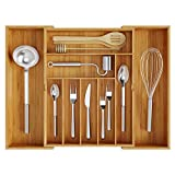 BAMEOS Utensil Drawer Organizer, Cutlery Tray Desk Drawer Organizer Silverware Holder Kitchen Knives Tray Drawer Organizer, 100% Pure Bamboo Expandable Adjustable Cutlery