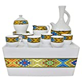Ethiopian/Eritrean Coffee Cups with Rékébot. Tilet Edition. Full Set. ጥለት ረከቦት & ስኒ.