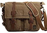 Berchirly Men Military Messenger Bag Vintage Canvas Bookbags Schoolbag For 17.3Inch Laptop