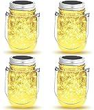 Solarlampen für Garten,OxyLED 4 Stück 40 LED Solar Laterne, Solarleucht für Außen Garten Deko, Wasserdichte Hängeleuchte für Garten Party Hochzeit(Warmeweiß)