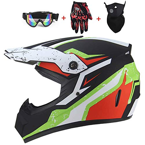 Adult Motorcycle Helmet, Off-Road Mountain Bike Motorbike Helmet for Youth Kids ATV Scooter Racing Motocross Full Face Helmet with Goggles/Gloves (52-59cm) D.O.T Certified