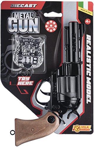 Pistola giocattolo in metallo, 12 colpi Modello triton, nero A tamburo Impugnatura in finto legno Munizioni non incluse Prodotto in italia Lunghezza pistola: 23 cm Incluso nella confezione distintivo argentato