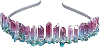 TOOGOO Raw Crystal Hairbands Handmade Crown Tiara Headbands Angel Crown Hair Jewelry For Women Pink Greenish