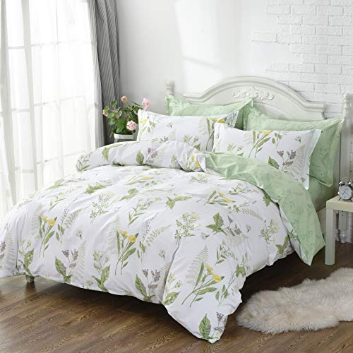FADFAY Shabby Green Floral Duvet Cover Set Yellow Daisy Purple Lavender Flowers Cotton Bedding Set 3-Piece-1duvet Cover & 2pillowcases-Queen Size