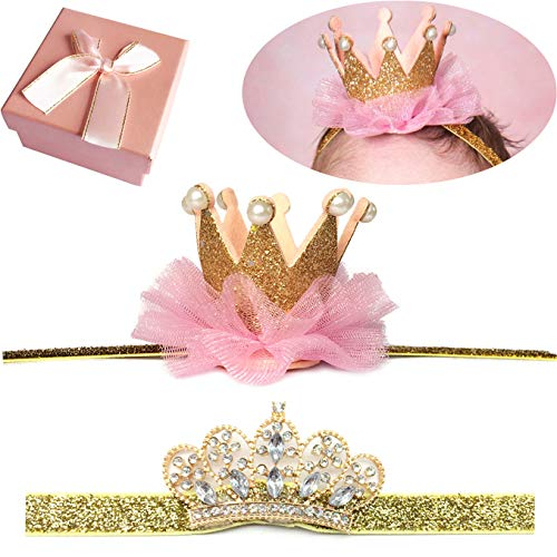 Elesa Miracle Baby Hair Accessories Baby Girl's Gift Box with Shiny Tiara Crown Headband Set (2pc- Gold)
