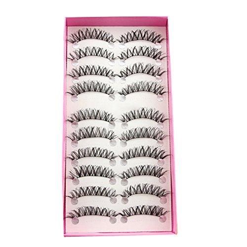 Bluelans® 10 Paar Schwarz Quer Lange Künstliche Falsche Wimpern Weiche Eyelashes Wimpernverlängerung Party Make-up