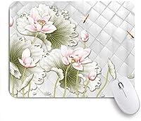 KAPANOUマウスパッド 詳細モザイクロータスフラワーフィッシュオリエンタル付き恋グラス ゲーミング オフィス おしゃれ 良い 滑り止めゴム底 ゲーミングなど適用 マウス 用ノートブックコンピュータマウスマット