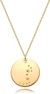 MEVECCO Gold Necklace Coin Disc Zodiac 12 Constellation Star Connected Engraved Horoscope Sign Astrology Pendant 18K Gold ...