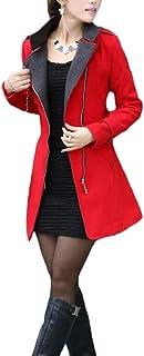 maweisong 女性秋のスタンドカラースリムフィットウールピーコートオーバーベルト付きコート