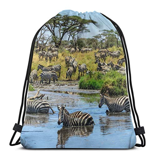 Savannah Grass Trees Watering Hole Zebras Striped In The Water On Faith Unisex Drawstring Backpack Bag, Polyester Cinch Sack, Waterproof Sport Gym Bag Casual Daypack for Women