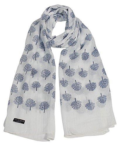 moerbeiboom print mode sjaal met madeliefje hanger cadeau (crème)