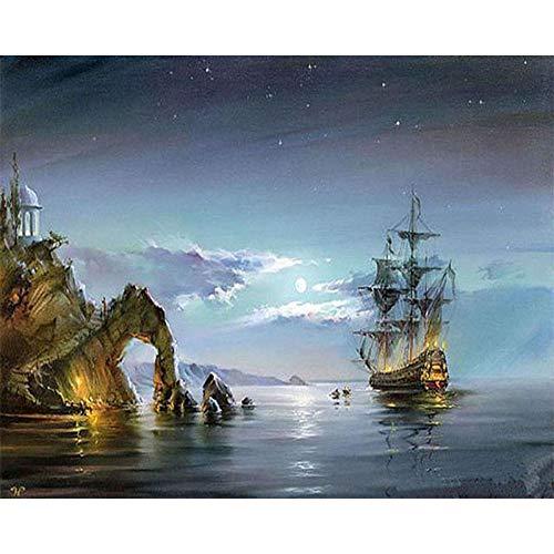 Jkykpp DIY schilderij op cijfers handgeschilderd olieschilderij tekening op canvas boot zeeland afbeelding wanddecoratie 40 * 50 cm