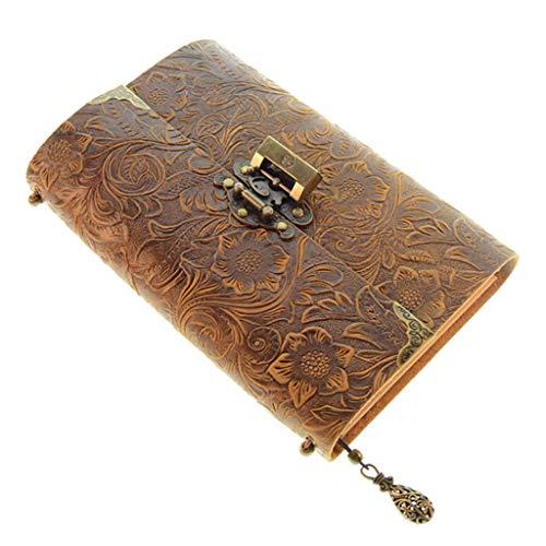 SHOTAY Cuaderno de Viaje de Cuero Suave con patrón en Relieve con Cerradura, Bloc de Notas Diario, Papel Kraft para Negocios, bocetos, Escritura, marrón