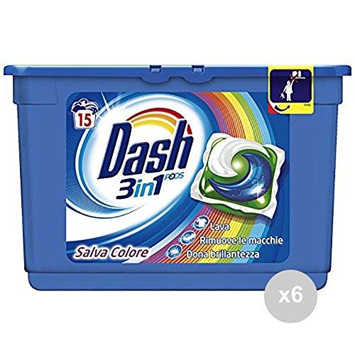 DASH Lot 6 Machine à Laver 3 in1 15 ecodosi Pods Printemps Lessive pour Le Linge, Multicolore, Unique