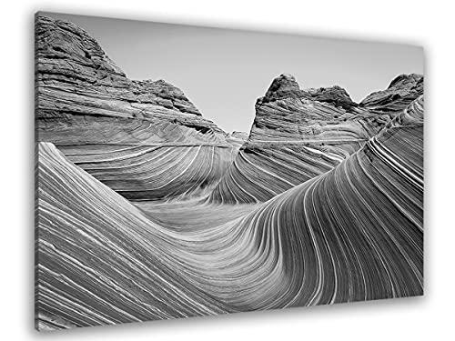 Hexoa Cuadro Grand Canyon negro y blanco - Fabricado en Francia - Cuadro de cristal acrílico - 100 x 60 cm