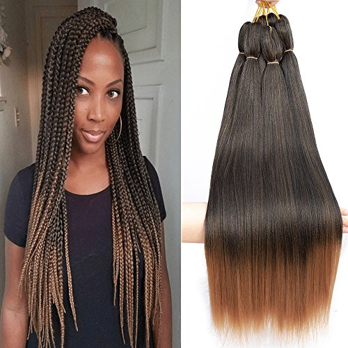 "Befunny 8 Packs Pre Stretched Braiding Hair Ombre Professional Prestretched Synthetic Braiding Hair Crochet Braids Hair Two Tone Yaki Straight Hair For Women Hot Water Setting, Itch Free(24"", T1B/30#)"