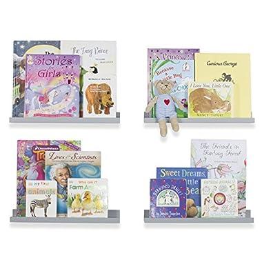 Wallniture Wall Mount Floating Shelves for Nursery Decor - Kid's Room Bookshelf Display Ledges 17 Inch Set of 4 (Gray)