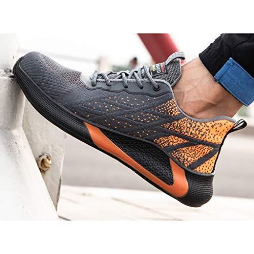 ZYFXZ Sicherheitsarbeitsschuhe |Protective Industrie Sneaker |Arbeits Trainer for den Bau, Ultra-Leicht-Fliegen Woven Deodorant Breath S3-Website-Sicherheit Schuhe for Männer Frauen bottes de sécurité