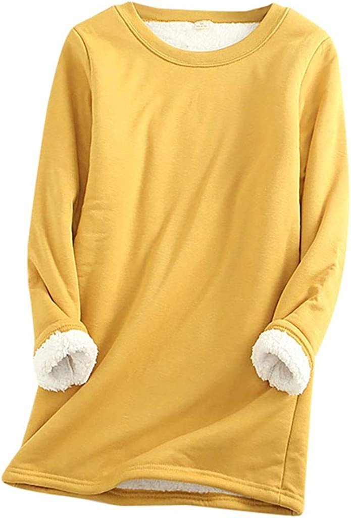 Women Thermal Underwear, Thatso Ladies Winter Warm Thick Fleece Lined Undershirt Long Shirts Blouse Top Home Loungewear(XXL,Yellow)