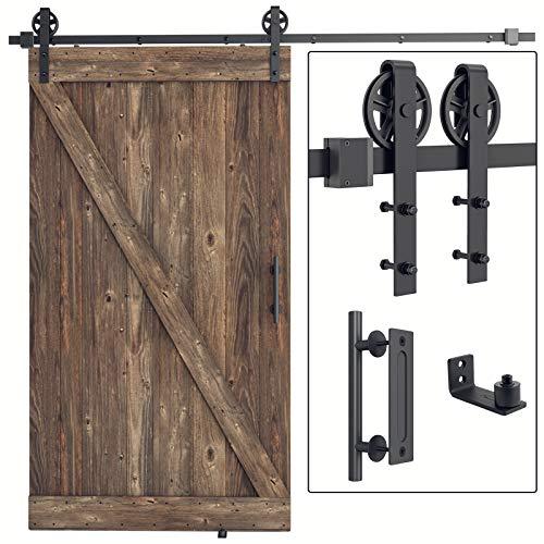 SMARTSTANDARD 8FT Heavy Duty Sliding Barn Door Hardware Kit,Black, (Whole Set Includes 1x Pull Handle Set & 1x Floor Guide) Fit 48
