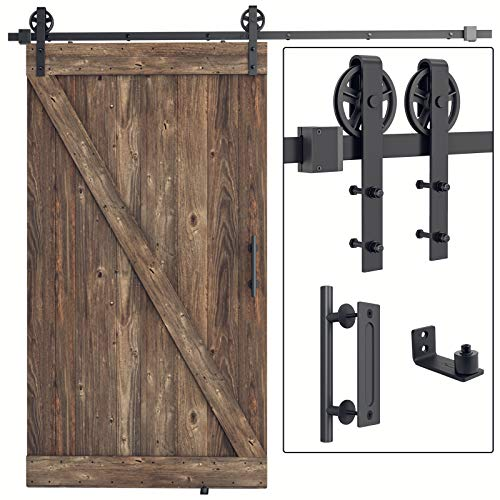 SMARTSTANDARD 8FT Heavy Duty Sliding Barn Door Hardware Kit, 8FT Single Rail, Black, (Whole Set...