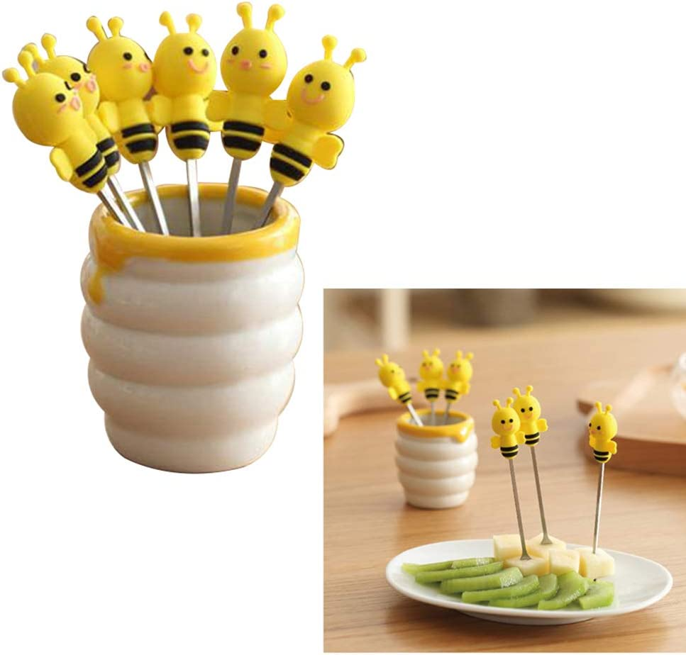 6 Pieces Stainless Steel Fruit Forks Silicone Cartoon Bee Decorative Long Handle Food Picks Decor with a Ceramic Holder by NUOMI for Salad Cake Dessert Vegetables Bento Lunch Box Home Party