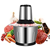 Picadora Electrica 2L, Picadora Carne Multifuncional 300W Modo de 2 Velocidades con 4 Cuchillas de Acero Inoxidable Batidora Cocina Trituradora de alimentos Ideal para Carne, Verduras, Frutas