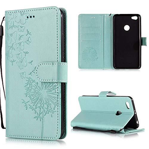 XCYYOO Handyhülle Kompatibel mit Xiaomi Redmi Note 5A Tasche Leder Flip Hülle PU Leder Hülle[Spitzen Blumenmuster] Brieftasche Etui Schutzhülle mit Stand Halter Falten für Xiaomi Redmi Note 5A(Grün)