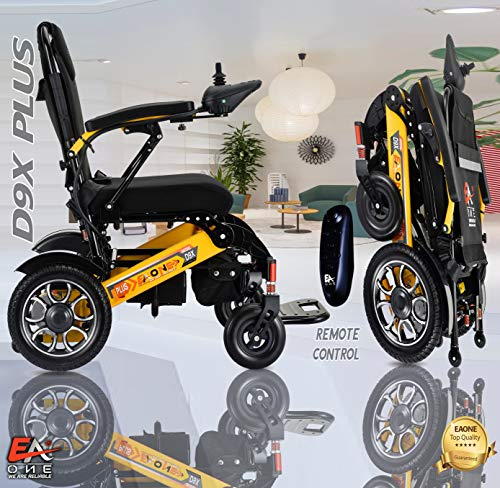 7 Colors Newly Arrived D9X Lightweight Best Exclusive Folding Motorized Electric Wheelchair Scooter, Airplane Travel Safe,Heavy-Duty Power Electric Wheelchair (21.5'' seat Width)(Yellow and Black)