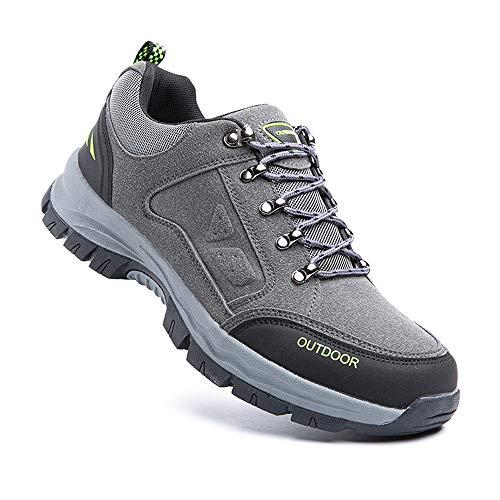 Zapatillas Trail Running Hombre Zapatos Senderismo Deporte Antideslizantes Cordones Ligero 2-Gris EU42