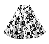 KILLREAL Women's Retro Fashion Floral Print A Line Full Circle Flare Skirt with Patterns Black/White Small