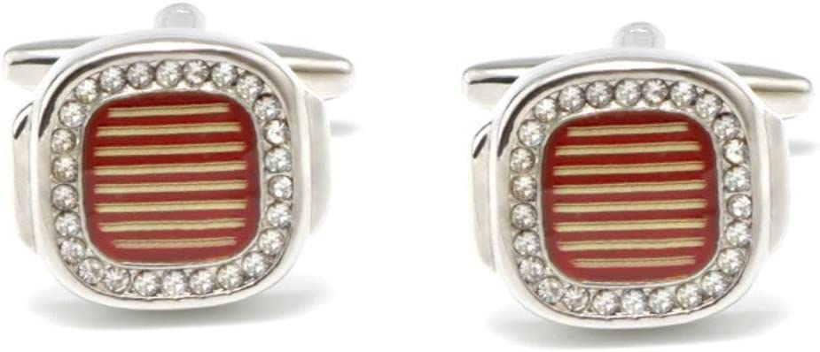 BO LAI DE Men's Cufflinks Transparent Red Striped Paint Cuff Links Suitable for Business Events, Meetings, Dances, Weddings, Tuxedos, Formal Wear, Shirts, with Gift Boxes