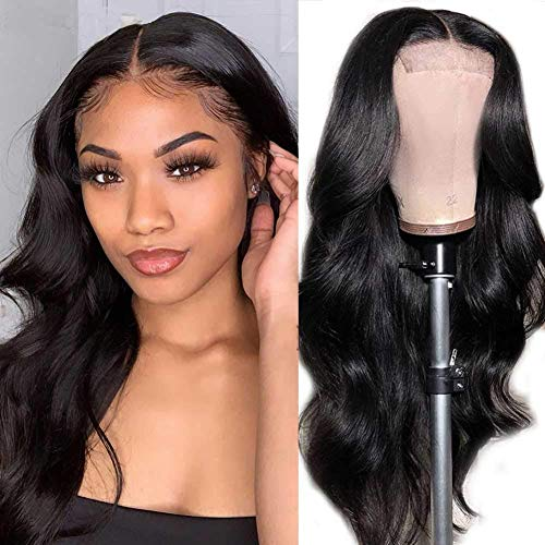 ANNELBEL Body Wave Lace Front Wigs Human Hair Pre Plucked with Baby Hair Glueless Lace Closure Wigs Brazilian Human Hair Wigs for Black Women (18 Inch, Natural Color, 150% Density, Body Wave Wig)