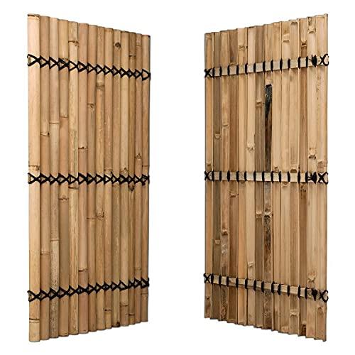 DE-COmmerce Sichtschutz aus Bambus Zaun Gartensichschutz XXL Nigra/Nature Slim Nature (BxH) 90x150 cm
