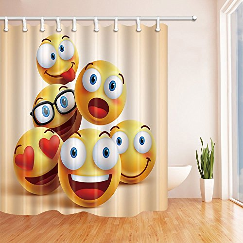 Nyngei Vector, Smiley-Motiv, Duschvorhang aus Polyester, wasserdicht, 180x 180cm, mit Haken im Lieferumfang enthalten, Weiß/Blau