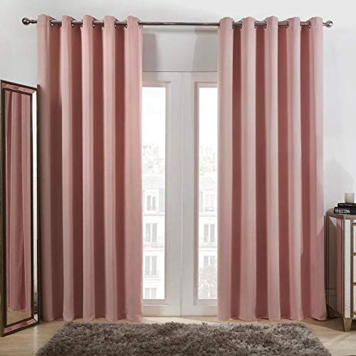 "Dreamscene Eyelet Blackout Curtains Set of 2 Thermal Ring Top Window Treatment Panels - Blush Pink, Width 66"" x Drop 54"