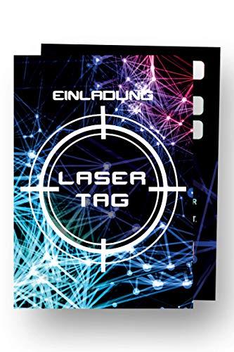 Friendly Fox Lasertag Einladung - 12 Laser Tag Einladungskarten zum Geburtstag Jungen Mädchen Kinder Teenager - Einladung Kindergeburtstag - Partyeinladung Lazer Tag - Coole Einladung - Gaming