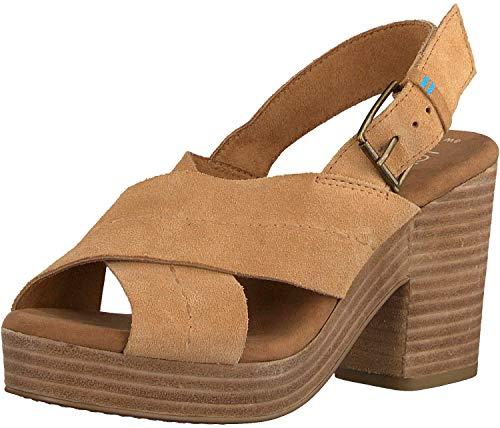 TOMS Women's Lightweight Platform Wedge Sandal Heeled, Honey, 10