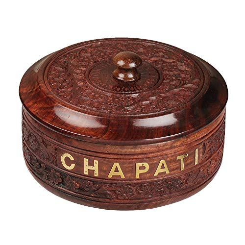 Karigar Creations Handicraft Wooden Stainless Steel Bread CHAPATI Casserole with Engraved Design Finish Kitchen Home Décor Ideal for Gift on Diwali and Christmas (Dimension : 9x4 inch)