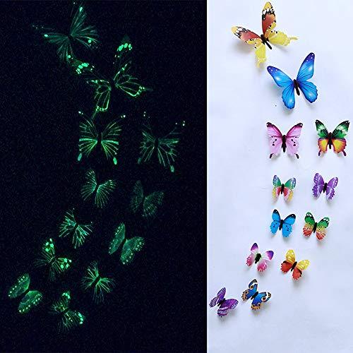 Rokoy Adesivi Murali Farfalla/Adesivi Murali Decorativi Fluorescenti, Rimovibili/Adesivi in Vinile/Fai da Te Adesivi Luminosi Scuola Materna per Bambini Decorazione Domestica Magnetica