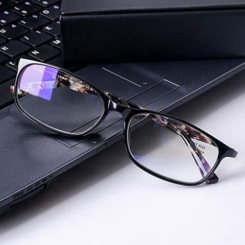 DOOViC Blaulichtfilter Computer Lesebrille/Fernbrille Schwarz/Eckig Rahmen Brille mit Stärke für Herren/Damen 2,5