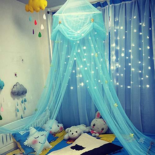 ENticerowts - Mosquitera colgante para cuna, diseño de estrellas, mariposas, tul cúpula para niños, ideal para viajes al aire libre y buena ventilación