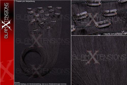 Echthaar Clip In Extensions Set 100% indisches Remy Echthaar 7 teilig / 7 Tressen hochwertige Haarverlängerung 55cm Clip-In Hair Extension Farbe # 1 schwarz black