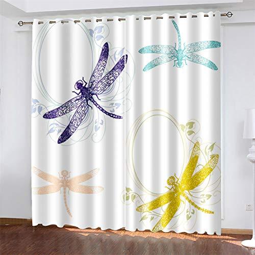YUNSW 3D-Digitaldruck Polyester-Vorhang, Geeignet Für Wohnzimmer, Schlafzimmer Und Küche, Beschattung Und Geräuschreduzierung, Perforierter Vorhang (Total Width) 280x(Height) 260cm