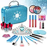 PERRYHOME Kids Makeup Kit for Girl, 24 Pcs Washable Makeup Kit Real Cosmetic Toy with Bag, Safe & Non-Toxic Frozen Makeup Set as Gift, Toddlers Dress up Set Kids Toys for 3-8 Years Old Girls